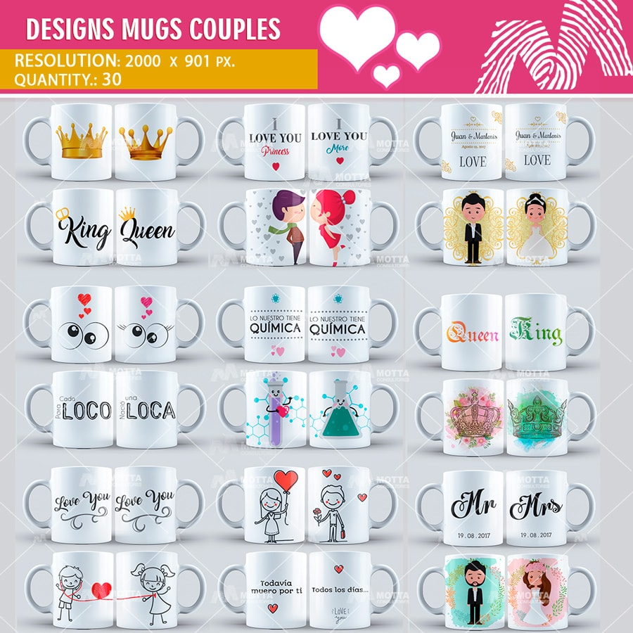 Design Sublimation Mugs Couples | Design Motta |