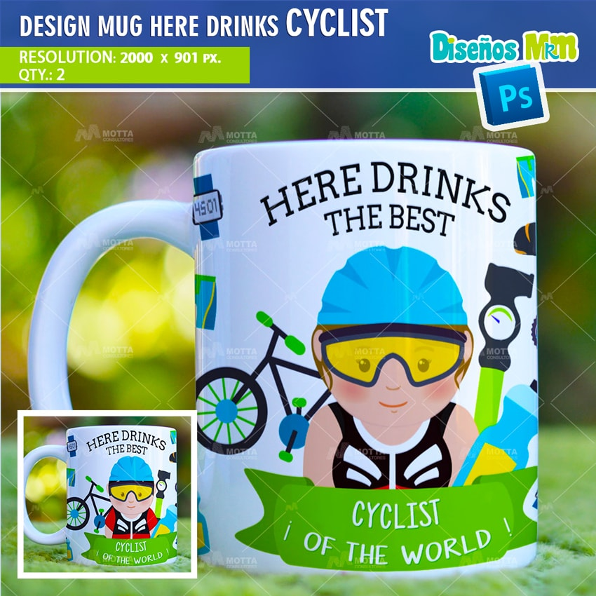 DESIGN SUBLIMATION HERE DRINKS CYCLIST