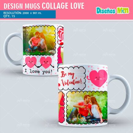 DESIGN FOR SUBLIMATION THE MUGS COLLAGE LOVE