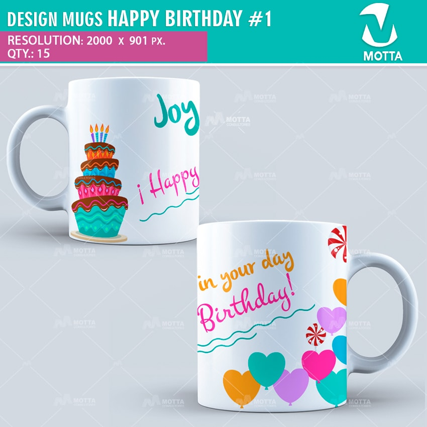 design for sublimation of mugs happy birthday