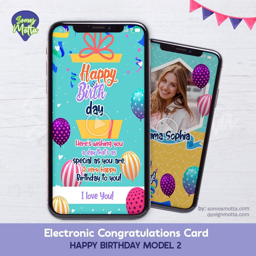 Electronic Congratulations Card Happy Birthday 2