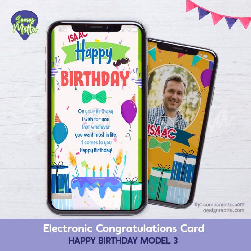 Electronic Congratulations Card Happy Birthday 3