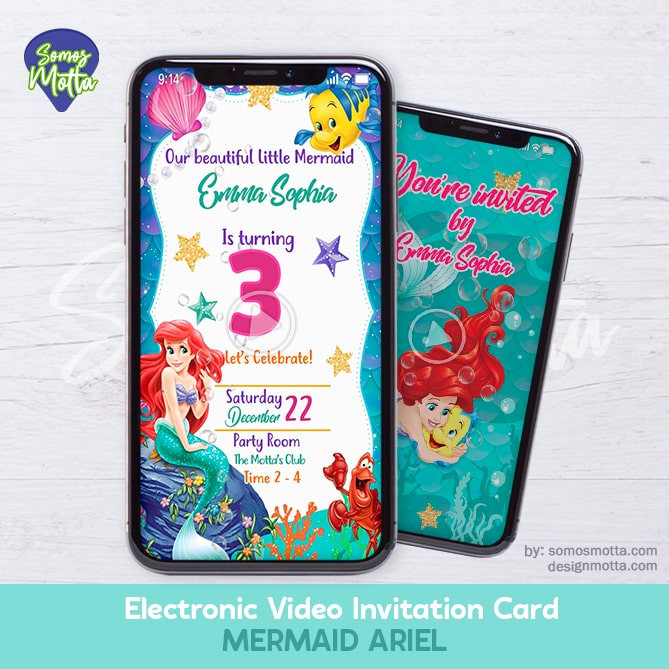 Electronic Video Invitation Card Mermaid Ariel
